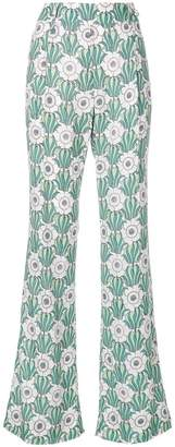 Prada floral print flared trousers