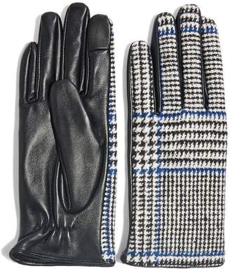 Topshop Houndstooth Faux Leather Touchscreen Gloves