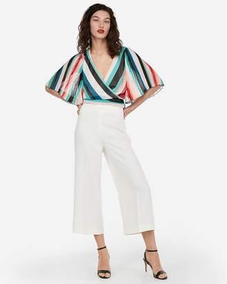 Express Stripe Pleated Kimono Sleeve Wrap Top
