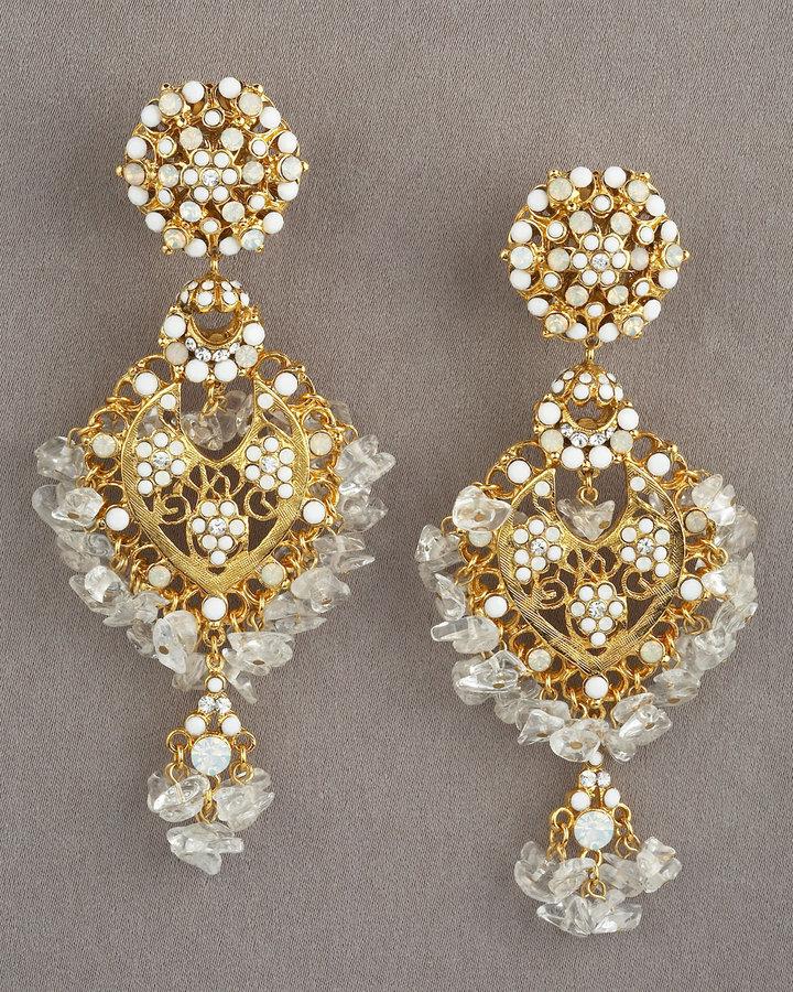 Jose & Maria Barrera White Chandelier Earrings