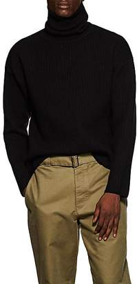 Ami Alexandre Mattiussi Men's Ribbed Merino Wool-Blend Turtleneck Sweater - Black