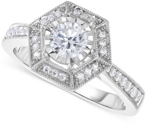 Trumiracle Diamond Vintage-Inspired Engagement Ring (5/8 ct. t.w.) in 14k White Gold