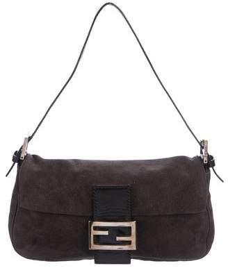 Fendi Suede Leather-Trimmed Baguette