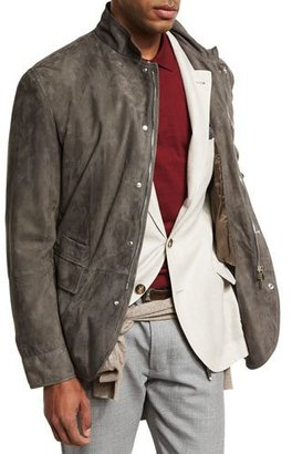 Brunello Cucinelli Lamb Suede Sport Jacket, Gray $4,845 thestylecure.com