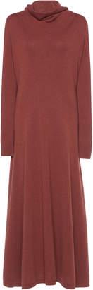Agnona Cashmere Jersey Stitch Dress With Draped Neck