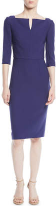 Roland Mouret Elbow-Sleeve Split-Neck Crepe Sheath Dress