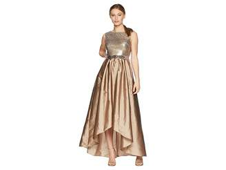 Adrianna Papell Petite Cap Sleeve Ombre Sequin Bodice with High-Low Taffeta Skirt