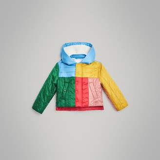 Burberry Colour Block Quilted Hooded Puffer Jacket
