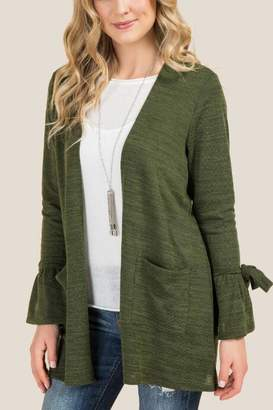 francesca's Annabel Tie Sleeve Cardigan - Olive