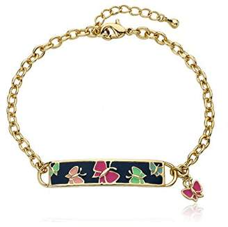 Little Miss Twin Stars Identity Crisis 14k Gold-Plated Chain Bracelet with Blue Enamel Name Plate with colored Butterflies and Hanging Butterfly Charm