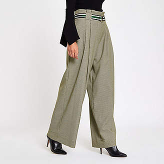 River Island Petite grey check belted wide leg pants