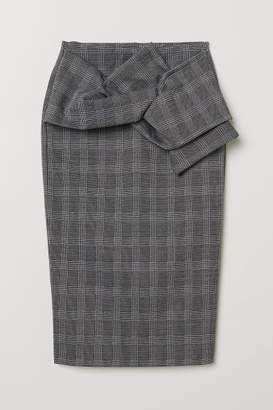 H&M Pencil Skirt with Knot Detail - Gray