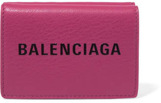 Balenciaga Everyday Mini Printed Textured-leather Wallet - Pink