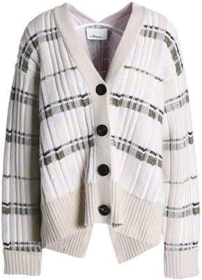 3.1 Phillip Lim Draped Checked Ribbed-Knit Cardigan