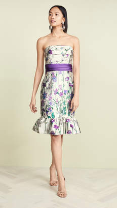 Marchesa Strapless Floral Cocktail Dress