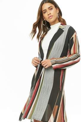 Forever 21 Multicolor Striped Longline Jacket