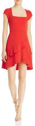 BCBGMAXAZRIA Square-Neck Ruffled Mini Dress