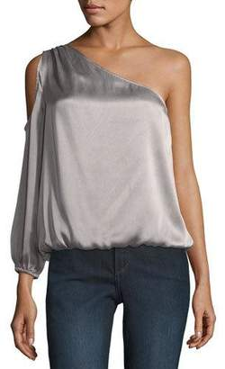 Joie Abatha One-Shoulder Blouson Satin Top