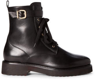 Luca Grossi Black Real Fur-Lined Leather Combat Boots