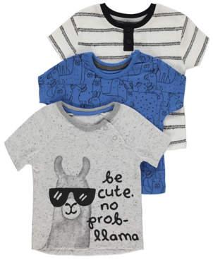 George Light Grey Llama Print T-Shirts 3 Pack