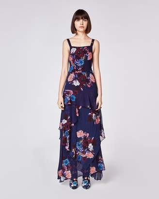 Nicole Miller Embellished Bouquet Asymmetrical Gown