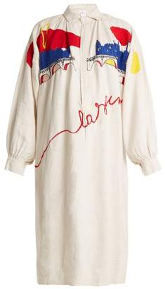 Kilometre paris Kilometre Paris - La Seine Embroidered Vintage Linen Shirtdress - Womens - White Multi