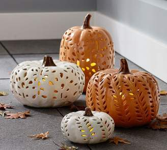 Pottery Barn Punched Ceramic Pumpkin Candleholders
