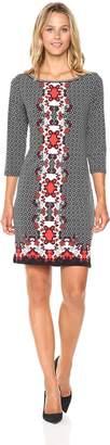 Max Studio Women's Hi Neck 3/4 Length Sleeve Dress
