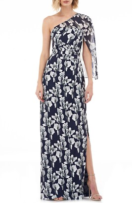 Kay Unger One-Shoulder Capelet Gown
