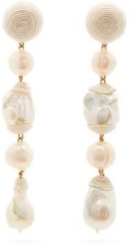 Rebecca De Ravenel Long Treasures Baroque Pearl Clip Earrings - Womens - Pearl