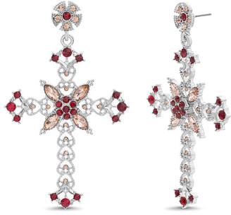 Steve Madden Stone Flower and Heart Design Cross Post Earring