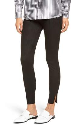 ZEZA B BY HUE Side Slit Faux Suede Leggings
