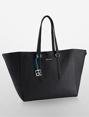 Calvin KleinCalvin Klein Womens Hailey Large Reversible Pebble Tote Bag Black W/ Pool