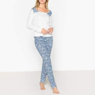 La Redoute Collections Printed Cotton Pyjamas with Lace