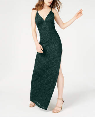 Emerald Sundae Juniors' Glitter Lace A-Line Dress