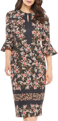 Maggy London 3/4 Flounce-Sleeve Floral-Print Scuba Crepe Sheath Dress