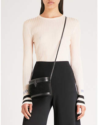 Emilio Pucci Logo-embroidered ribbed-knit top