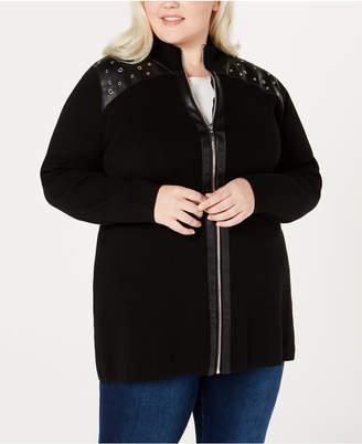 Belldini Plus Size Faux-Leather-Trim Zippered Cardigan