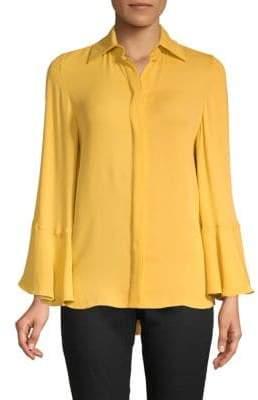 Valentino Bell-Sleeve Silk Blouse