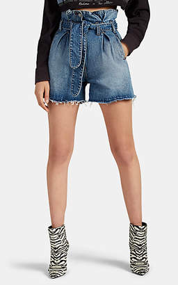 ATTICO RE/DONE + THE Women's Pleated Denim High-Rise Shorts - Blue