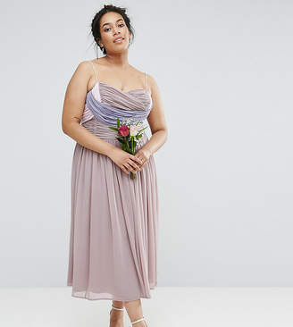 Asos WEDDING Ruched Color Block Midi Dress