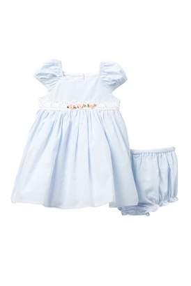 Laura Ashley Seersucker Stripe Dress (Baby Girls 0-9M)
