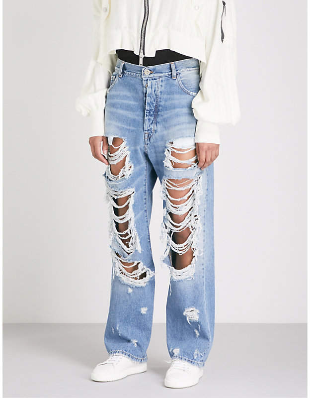 Baggy Boy distressed straight high-rise jeans