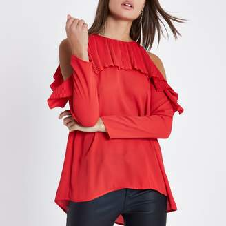 River Island Womens Red cold shoulder pleated frill blouse