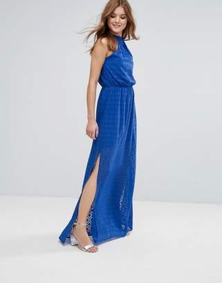 Lavand Halterneck Pleated Maxi Dress
