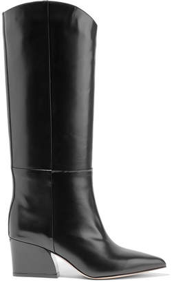 Tibi Logan Glossed-leather Knee Boots - Black