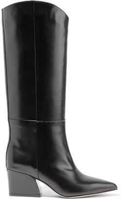 Tibi Logan Glossed-leather Knee Boots - Black