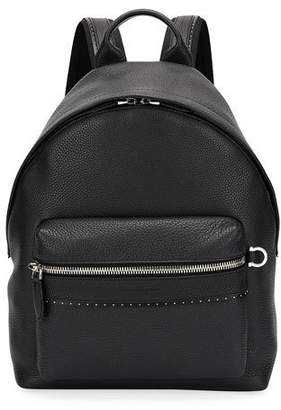 Salvatore Ferragamo Men's Firenze Grained Leather Backpack, Black