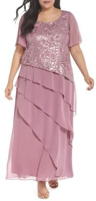 BRIANNA Flutter Sleeve Ruffle Gown