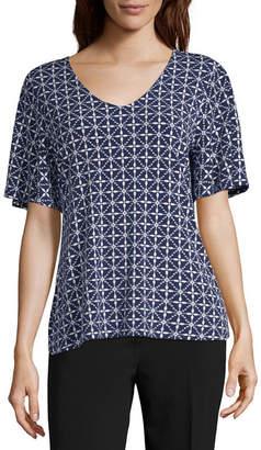 Liz Claiborne Womens V Neck Short Sleeve Blouse